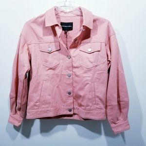 Who What Wear Rose Bloom Denim Jacket NWT Small